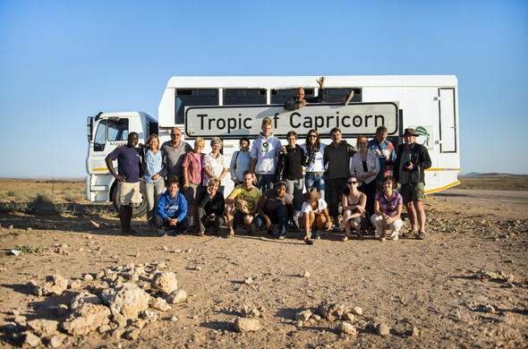 Crossing over into the Tropic of Capricon in Namibia.