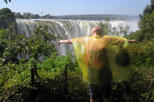 Feel the spray of the Victoria Falls during your tour of the rainforest.