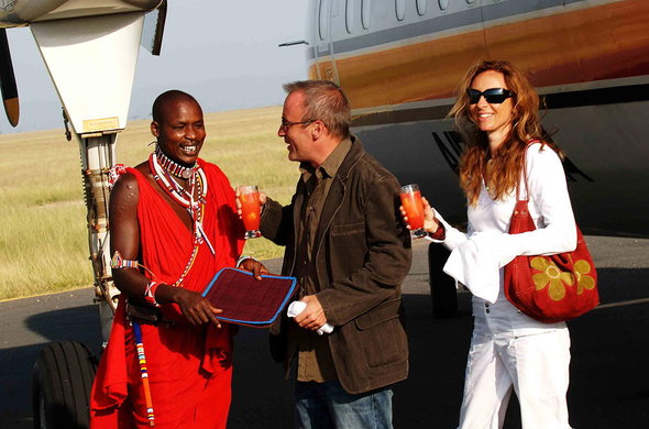 Guests are welcomed with drinks upon arrival at Amboseli Serena Safari Lodge.