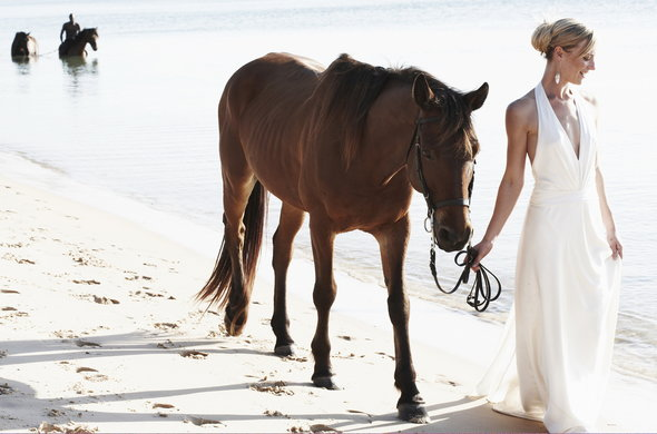 Bride walks with horse on beach at Bazaruto Island.