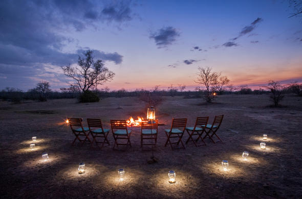 Sunset dining at Amara Selous Camp
