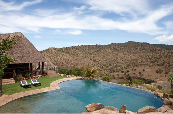 View over the pool deck at Borana Lodge