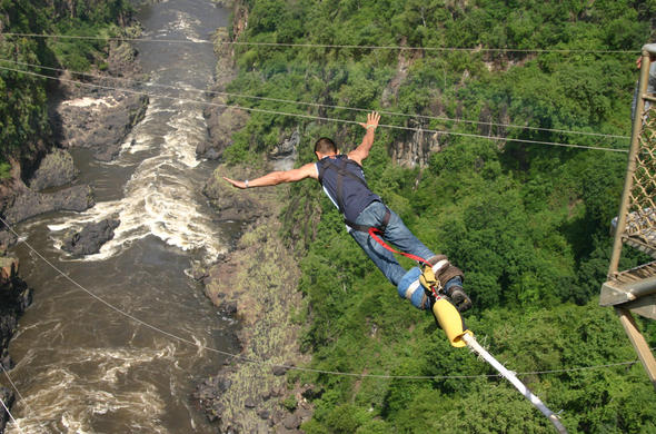 Victoria Falls bungee jump.