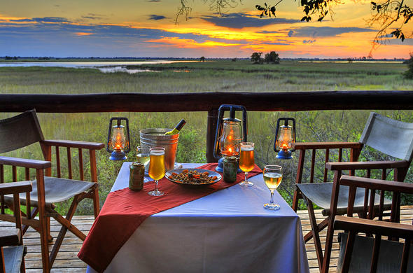Unparalleled sunset views from Camp Moremi decks.
