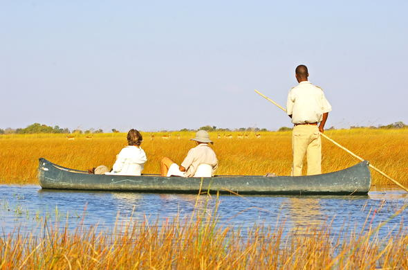 Explore Okavango Delta on a mokoro excursion.