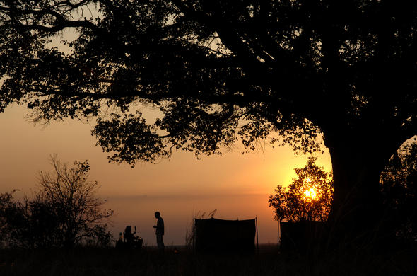 Sundowners at Chada fly camp. Katavi
