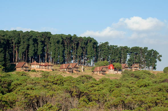 View of Chelinda Lodge situated in the Nyika National Park forest.