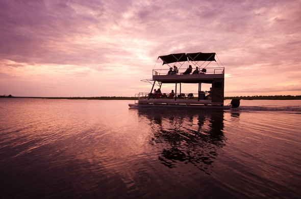 Romantic boat safari on Chobe River.