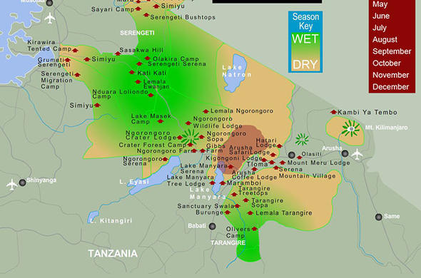Serengeti Plains Africa Map.Great Migration Map For January