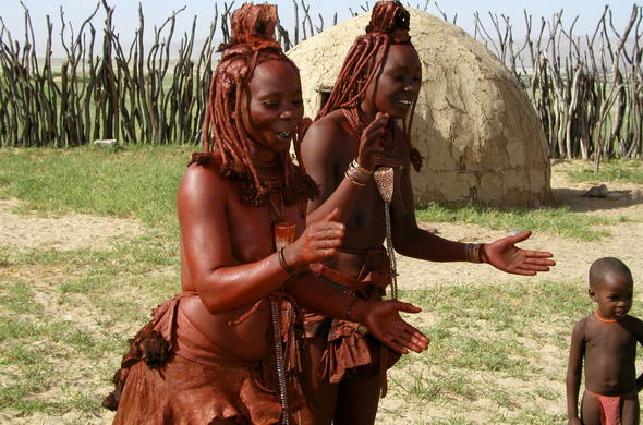 Himba girls dancing