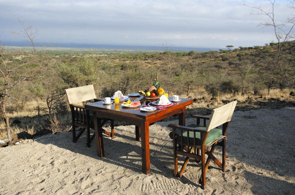 Breakfast with a view in Tanzania.