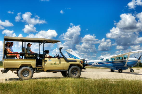 Game drive vehicle collects you from your flight.
