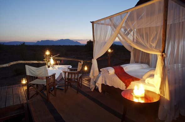 Romantic sleepout deck at Kapama Game Reserve.