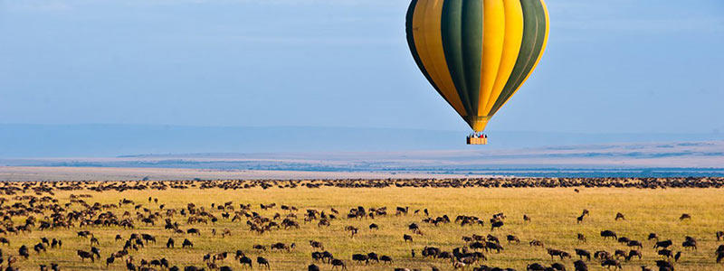 Kenya hot air balloon safari over Masai Mara.