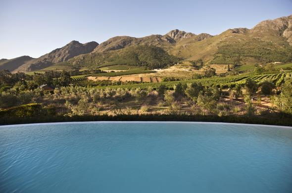 Enjoy views of Franschhoek Valley from the swimming pool.