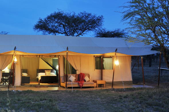 Exterior of the safari tents at Lemala Ewanjan Tented Camp.
