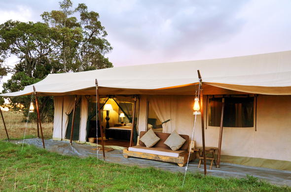 Unwind on the private patio of Lemala Mara Tented Camp.