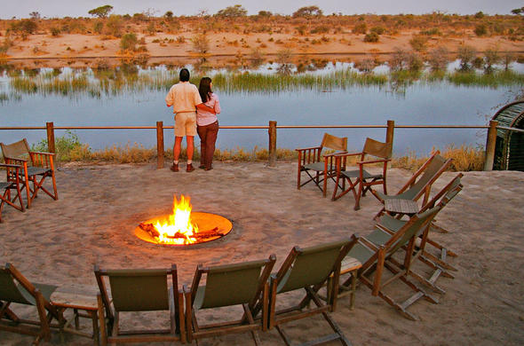 Guests take in the beautiful location views from the boma area.