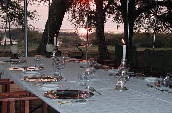 Dining setup at Lechwe Camp