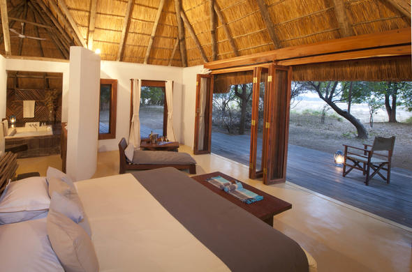 Luangwa River Camp en-suite bedroom with a view.