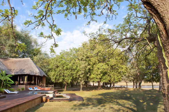 The Luangwa River Camp pool deck.