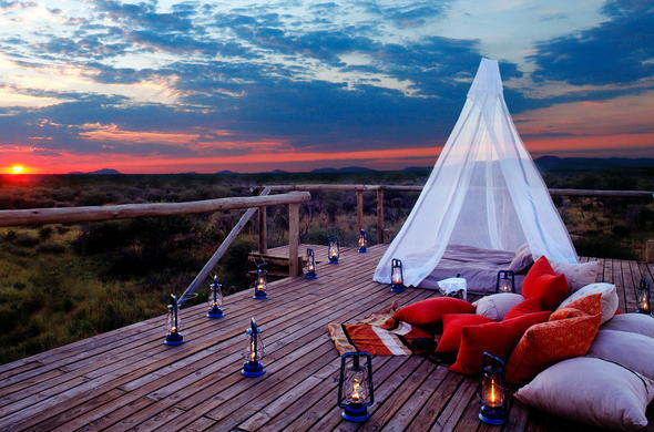 Romantic sunset view from hide sleep out in malaria free Madikwe.