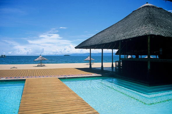 Crystal clear swimming pools with views of Lake Malawi.