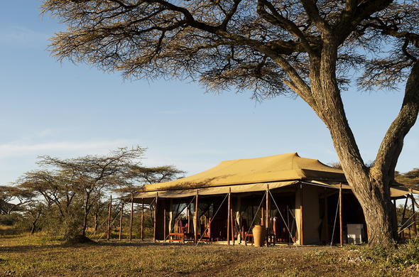 The main tented area of Mara Under Canvas in Tanzania.