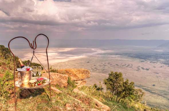 Sip champagne while enjoy incredible views of the Ngorongoro Conservation Area.
