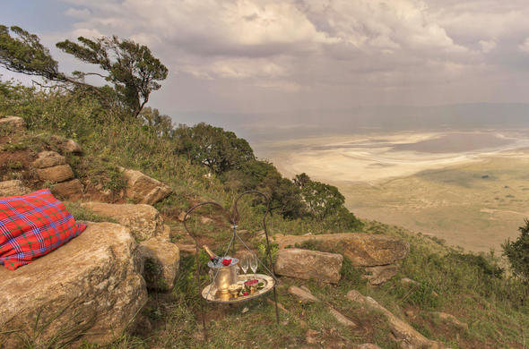 Champagne on the rocks at Ngorongoro and distant