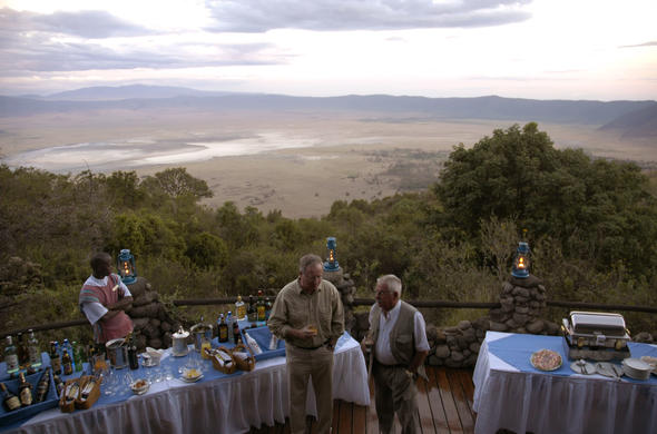 Sundowners as dusk settles over the Crater at Ngorongoro Serena Lodge