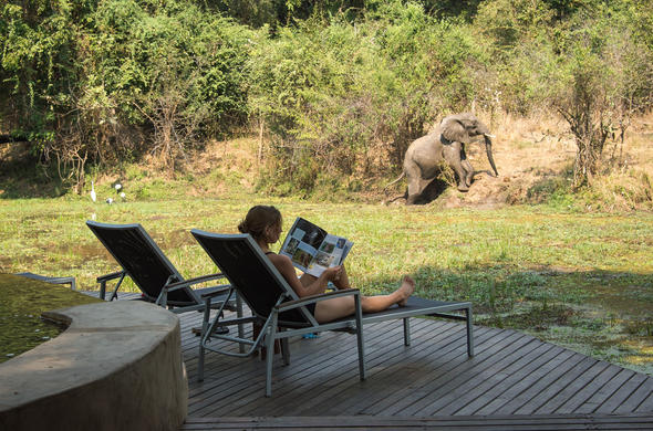 Your private deck at Nkwali Camp in South Luangwa
