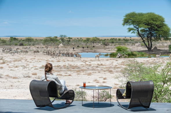 Views from the game viewing deck at Onguma Game Reserve.