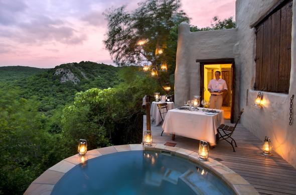 Romantic dining on private deck at Phinda Rock Lodge.