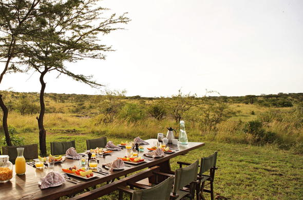 Richards Forest Camp breakfast is served in Masai Mara wilderness.