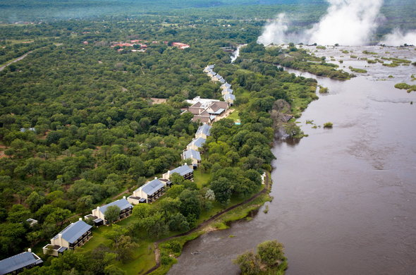 The hotel is located opposite the Victoria Falls.