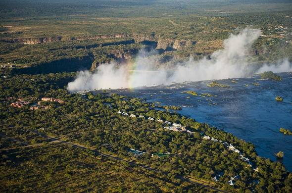 Aerial view of Victoria Falls.
