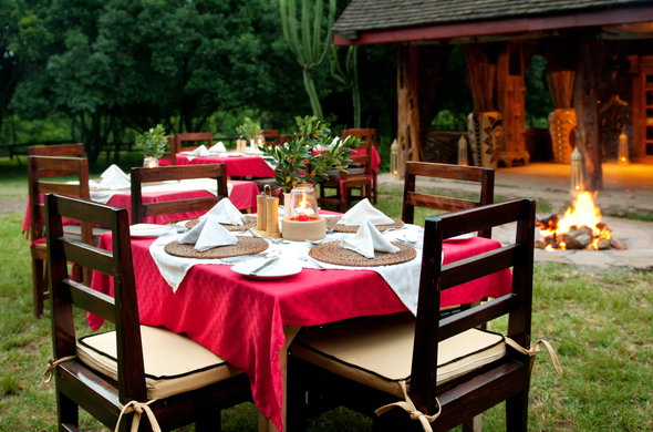 Al-fresco dinners at Royal Mara Safari Lodge.