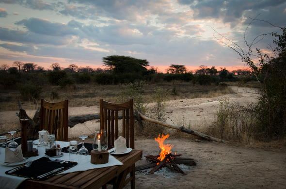 Ruaha dining under the stars