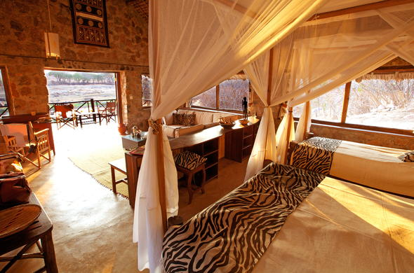 Accommodation is offered in the Double Banda at Ruaha River Lodge.