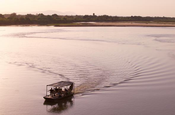 Rufiji River sunset boat safari from Selous Riverside Camp