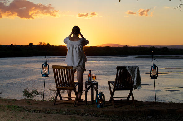 Sundowners at Rufiji River Camp