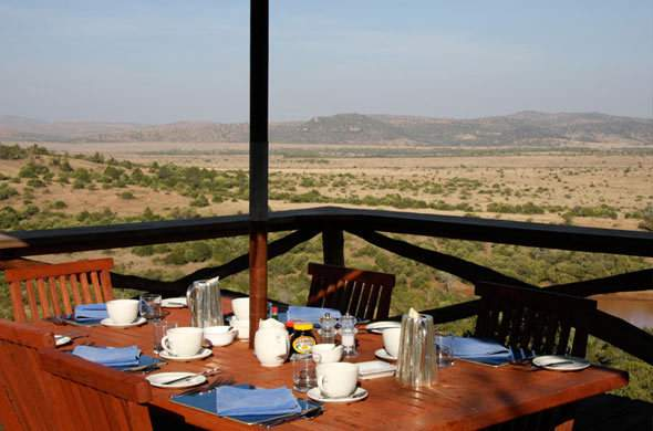 Breakfast at Borana Lodge with a view of Lewa Plains