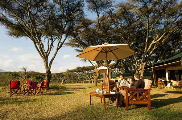 Enjoy a morning coffee in Ngorongoro Conservation Area.