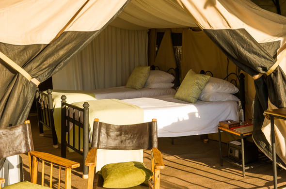 Tented twin room at Sanctuary Ngorongoro Crater Camp.