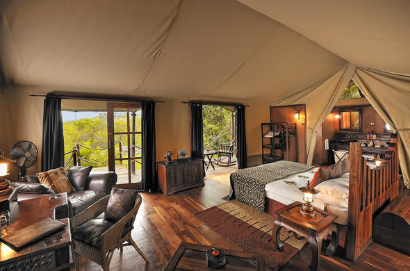 Inside the Sanctuary Serengeti Migration Camp tented suite.