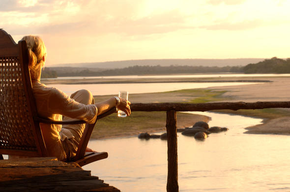 Game viewing deck overlooking the Rufiji River in Selous.