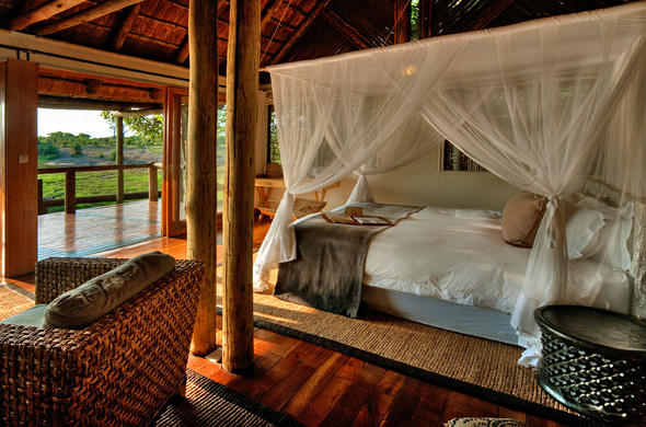 Bedroom interior at Savute Safari Lodge.