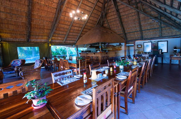 Sekoma Island Lodge feast table for social dining experiences.