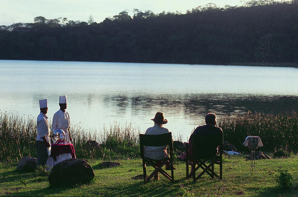 Breakfast by the lake at Serena Mountain Hotel. Arusha